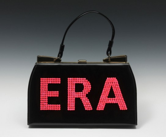 Michele Pred, Equal Rights Amendment (Purse) 2013 vintage purse, birth control pills, enamel and plexi 13 x 12 x 3 inches