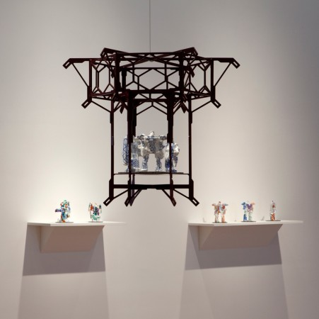 Silk Road Lantern, 2013 powder coated steel and ceramic 24 x 29 x 29 inches
