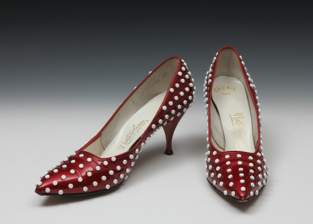 In Our Shoes, 2013 birth control pills, vintage shoes, varnish 5 x 10 x 10 inches