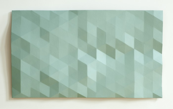 Kern River/13.1 (blue green) 2012 oil on wood 35 x 61 inches
