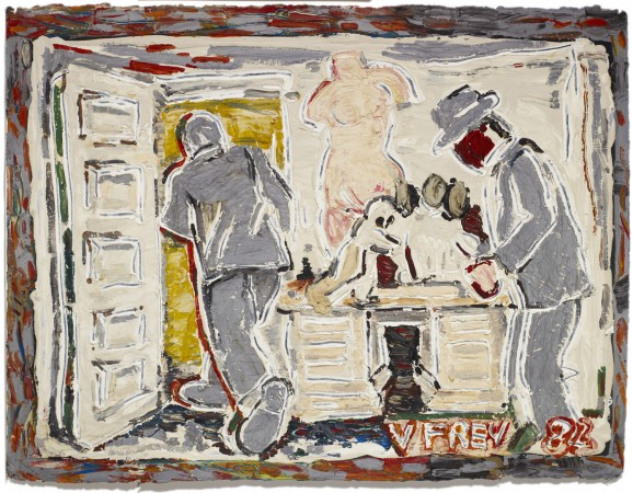 Untitled (Studio View, Two Men in Silver Suits) 1982 oil and acrylic on paper 22 x 30 inches