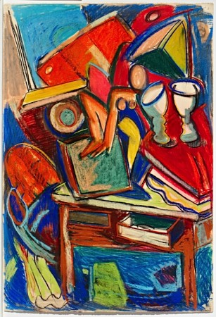 Untitled (Table with Books, Nude Figure & Two Goblets) 1986 pastel on paper 44 x 30 inches
