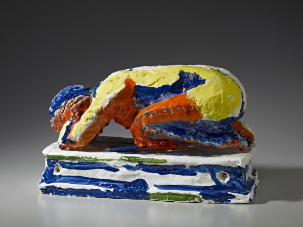 Untitled (Figure on Knees with Head Down on Folded Arms) 1986 ceramic 10 x 18 x 10 inches