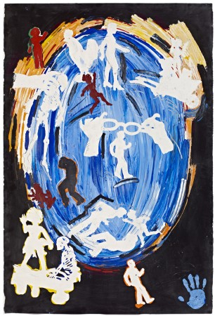 Untitled (Blue Oval, Hands Holding Glasses, Stenciled Figures & Figurines) ca. 1981 oil and acrylic on paper 60 x 40 inches