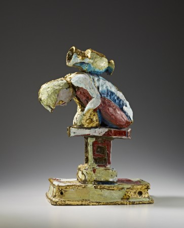 Untitled (Figure with Pot on Back) 1985 bronze, gold leaf 27 x 17 x 10 inches
