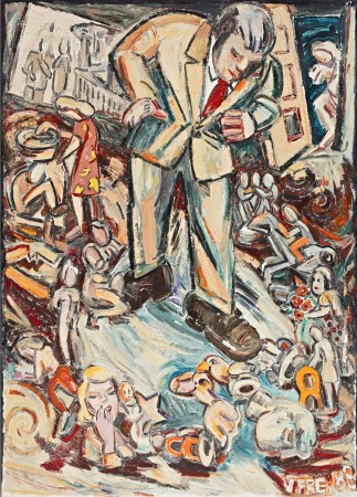 Untitled (Man in Suit Looking Down, Figurines) 1983 oil on canvas 76 x 55 inches