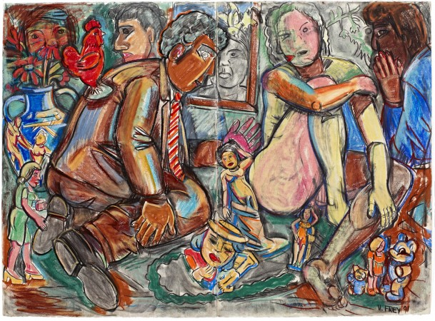Artist Studio Series Diptych #1, 1991 pastel on paper 44 x 60 inches