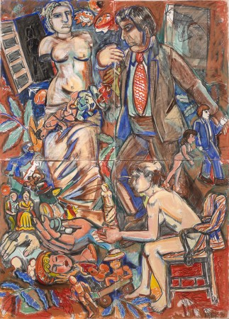 Untitled Polyptych (Greek Hag, Brown Suited Man) 1990 pastel on paper 83 x 59 inches