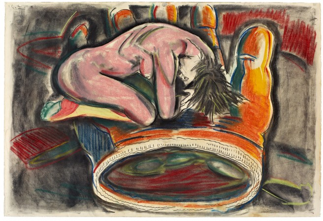 Untitled (Pink Woman, Orange Glove) 1986-87 pastel & charcoal on paper 30 x 44 inches