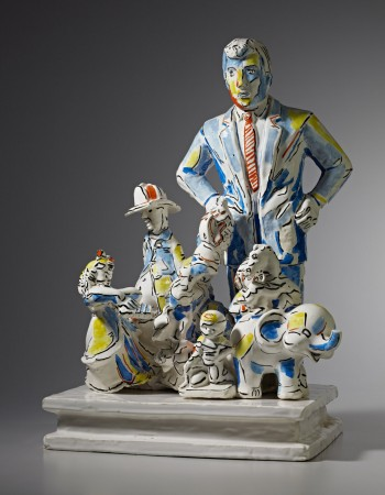 Untitled (R) Pot Bellied Fireman, 1995 ceramic 25 x 18 x 12 inches