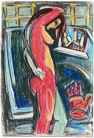 Untitled (Profile of Standing Woman & Red Glove) 1986 pastel on paper 44 x 30 inches