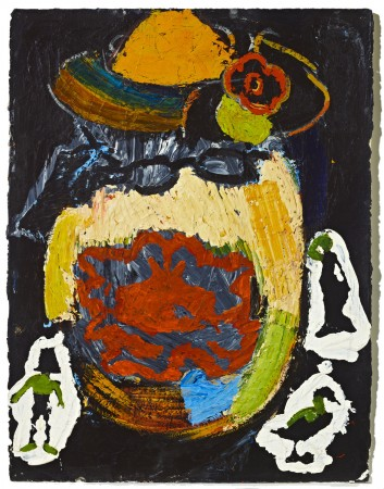 Untitled (Yellow Hat/ Red Flower) Greedy Grandmother Series, 1980 oil and acrylic on paper 30 x 22 inches