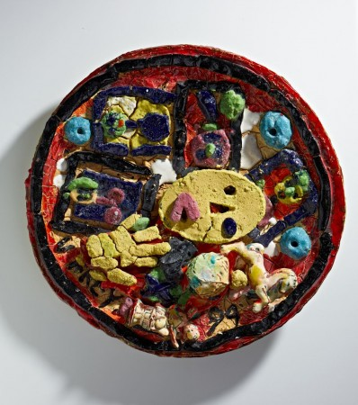 Untitled (Plate with Yellow Oval Face & Hand) 1994 ceramic 25 inch diameter