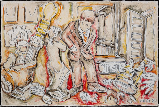 Untitled (Studio View-Hand, Classical Lamp & Man in Suit) 1982 oil on paper 40 x 60 inches
