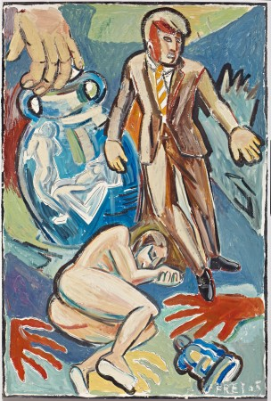 Untitled (Man in Brown Suit & Female Nude Lying on Ground) 1985 oil and acrylic on paper 60 x 40 inches