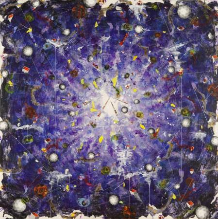 Linda Mieko Allen, Atmospherics XIX (ultra violet) 2011 mixed media 60 x 60 inches