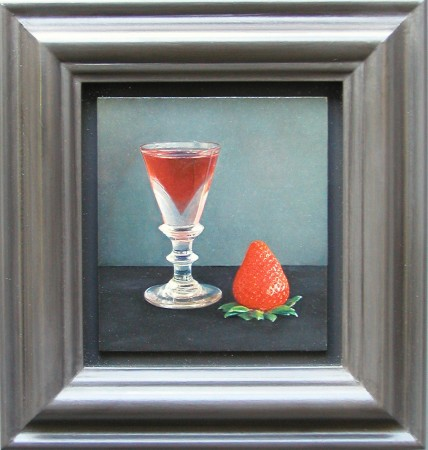 Lucy Mackenzie, Strawberry and Glass, 2004 oil on wood 3 x 3 inches