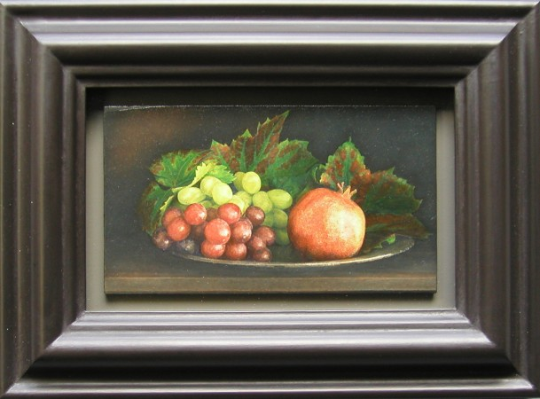 Lucy Mackenzie, Pomegranate and Grapes, 2001 oil on wood 2 x 4 inches