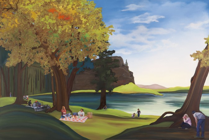 Purdy Eaton, The Picnic, 2012 oil and collage on canvas/panel 48 x 72 inches