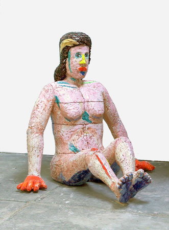 Viola Frey, Stubborn Woman, Orange Hands, 2003-4 ceramic 72 x 80 inches