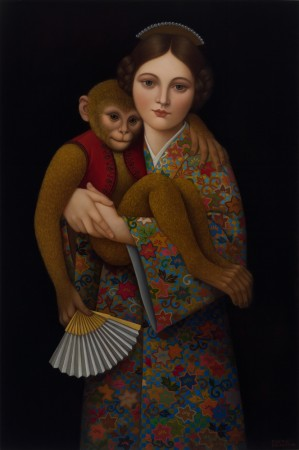 Girl with Monkey, 2011 oil on panel 36 x 24 inches