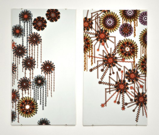Sometimes Out The Window, 2011 ceramic 31 x 36 inches diptych