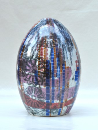 Digital Rain Egg I, 2011 ceramic 16 x 11 x 11 inches