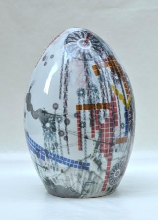 Digital Rain Egg II, 2011 ceramic 16 x 11 x 11 inches