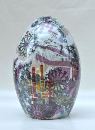 Digital Rain Egg III, 2011 ceramic 16 x 11 x 11 inches