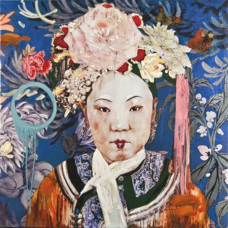 Hung Liu, Manchu Lady with Cherry Lips, 2011 mixed media 41 x 41 inches