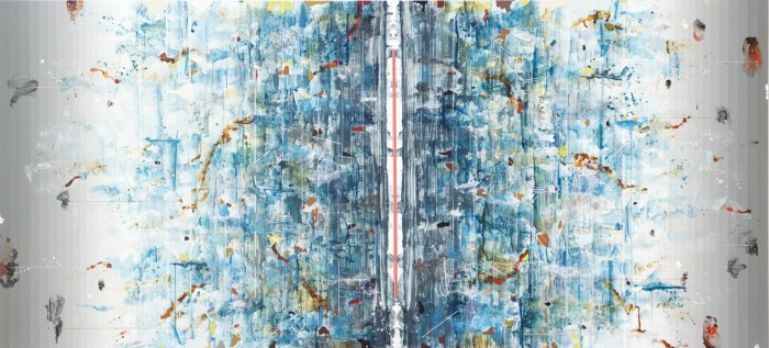 Linda Mieko Allen, Parallax IV (cyanotopographic) 2010 acrylic, ink, graphite, aluminum powder, wax on alumalite panel 50 x 109 inches