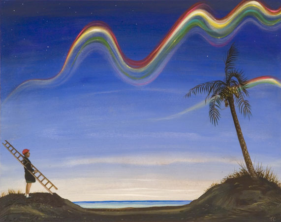 Timothy Cummings, Deformed Rainbow, 2011 acrylic on panel 7 x 14 inches