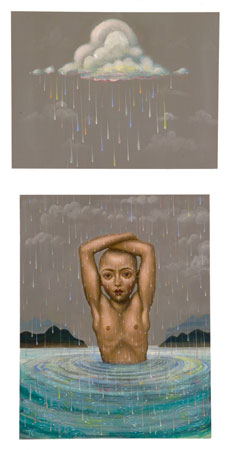 Alchemy from a Cloud, 2011 acrylic on panel 24 x 12 inches total