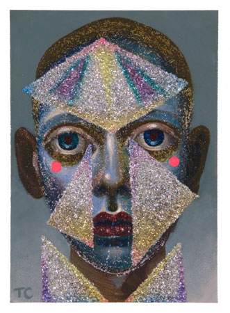 Glitter Face, 2010 acrylic on panel 7 x 5 inches