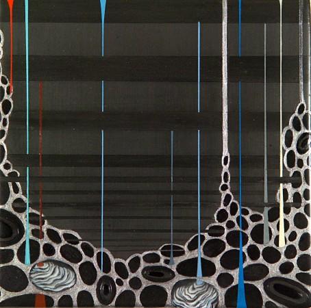 Linda Mieko Allen, Excavata X, 2007 mixed media on panel 6 x 6 inches