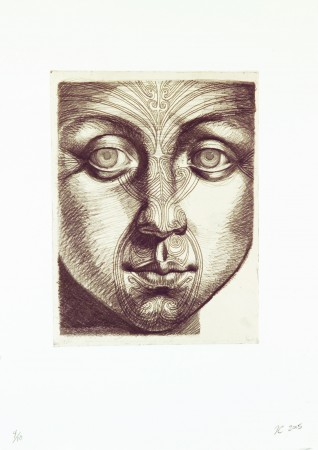 Timothy Cummings, Face Study with Tattoo, 2005 etching 20 x 15 inches Edition 4/10