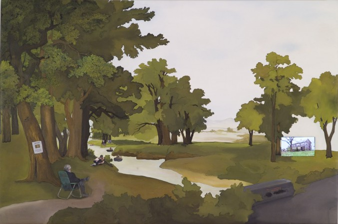 An Old Man's Reminiscence, 2010 oil and collage on canvas, video 40 x 60 inches