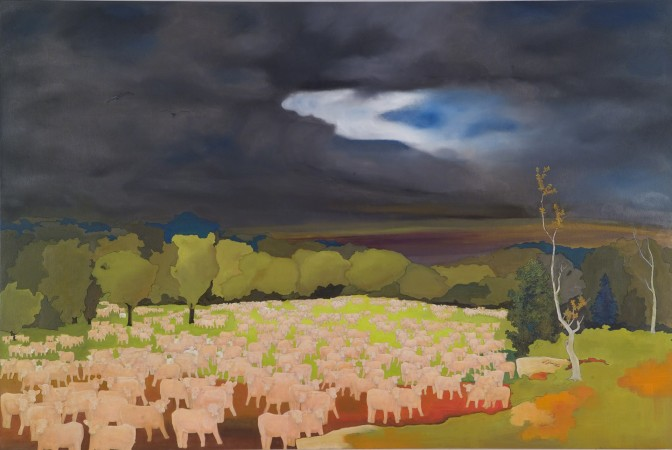 The Coming Storm, 2010 oil and collage on canvas 36 x 54 inches