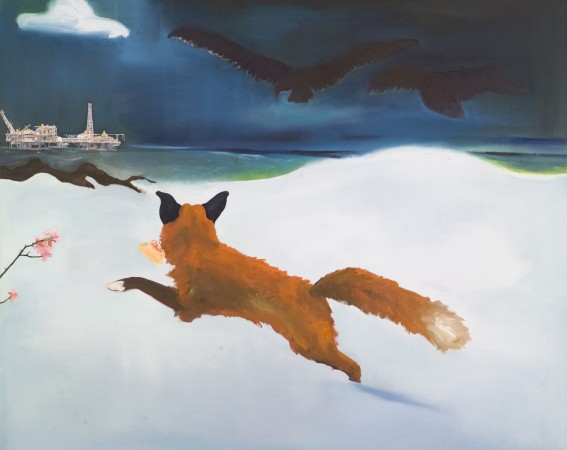 Fox Hunt, 2009 oil and collage on canvas/panel 48 x 60 inches