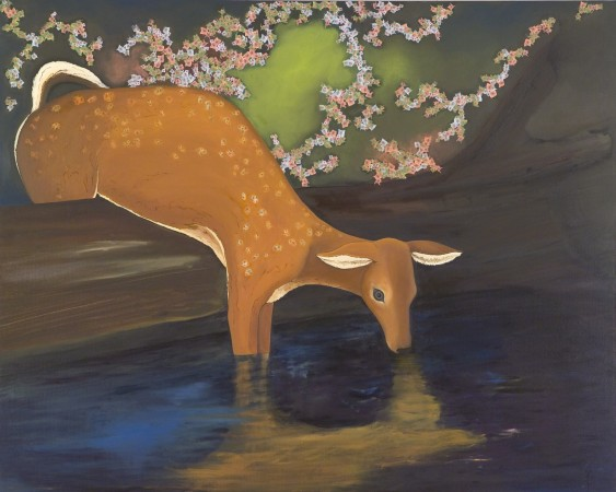 Deer Drinking, 2008 oil and collage on canvas/panel 48 x 60 inches