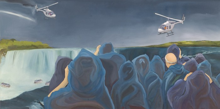 Niagra, 2010 oil and collage on canvas/panel 36 x 72 inches