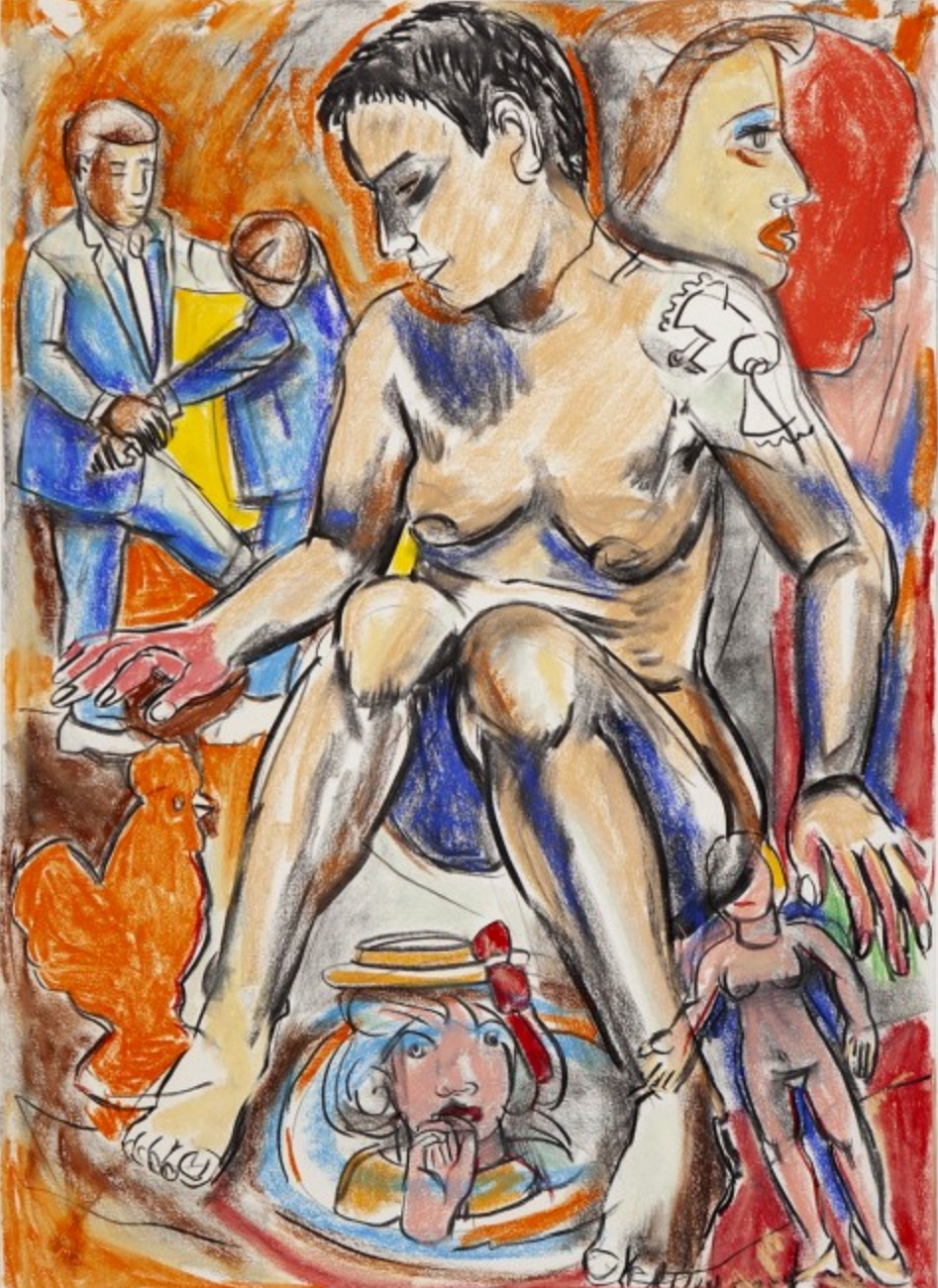 Fighting Men Series Drawing I, 1993 pastel on paper 41 × 29 inches