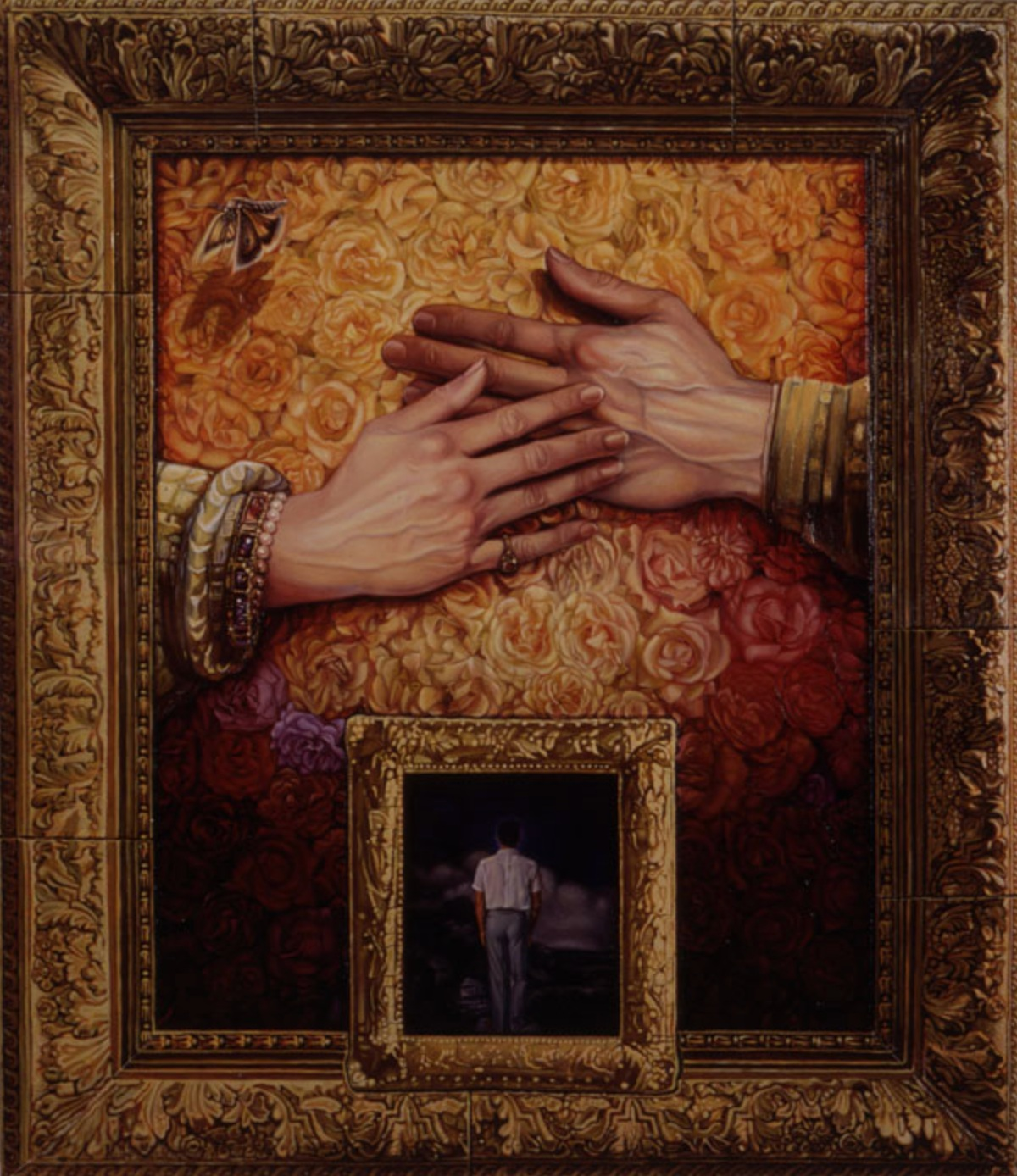 Rembrandt's Hands, Vermeer's Frame..., 1990 mixed media 33 × 29 inches