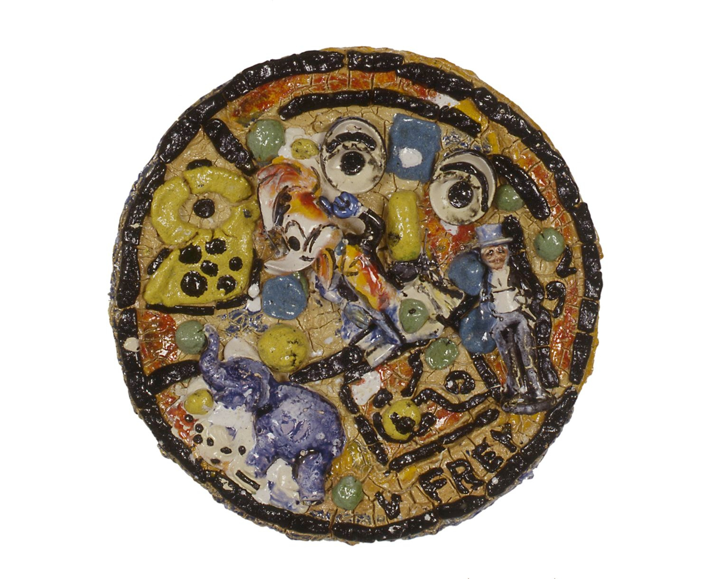 Viola Frey, Untitled Plate #17, 1992 ceramic 25 inch diameter