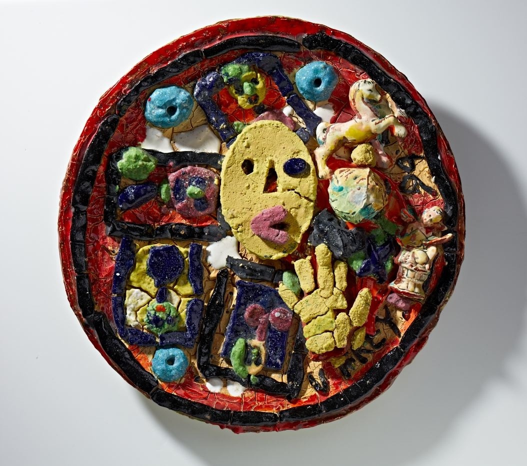 Viola Frey, Untitled (Plate with Yellow Oval Face & Hand) 1994 ceramic 25 inch diameter