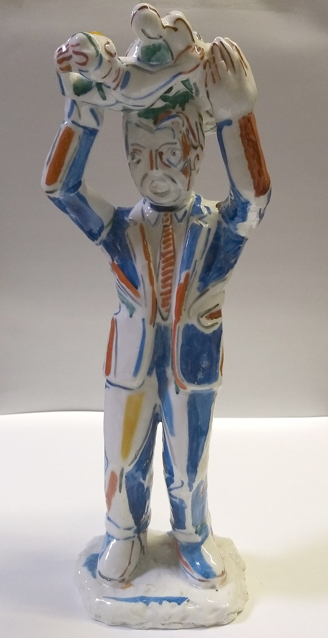 Viola Frey Untitled #4 (Suited Man Holding Statue Over Head) A La Manufacture de Sevres Series 1987 ceramic 22 x 9 x 10 inches