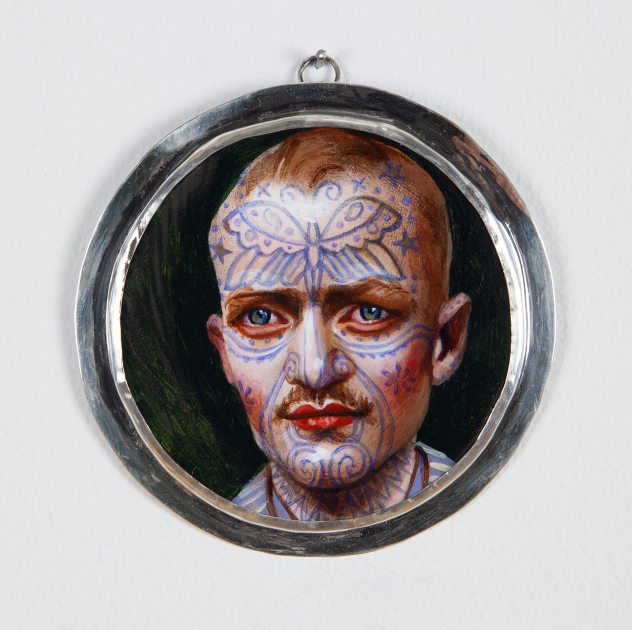 Blue Tattoo Forest Man, 2019 acrylic on wood 3 inch diameter