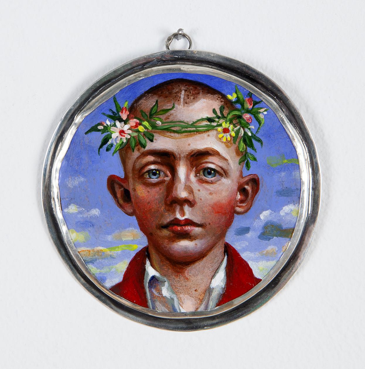 Beltane Boy, 2019 acrylic on wood 3 inch diameter