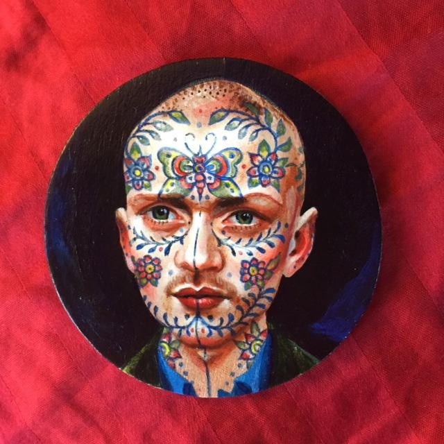Flower Face, 2019 acrylic on wood 3 inch diameter