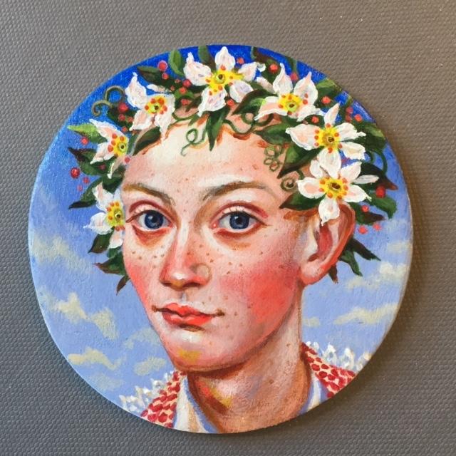 Garland Crown 2, 2019 acrylic on wood 3 inch diameter